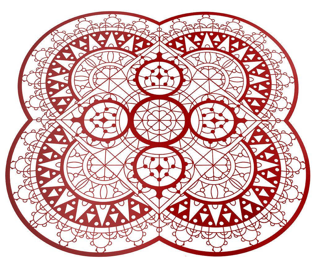 Tavola - Sottopiatti - Set da tavolo Petal Italic Lace / 33 x 33 cm - Sottopiatto - Driade Kosmo - Rosso - Ottone