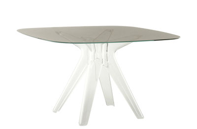 Furniture - Dining Tables - Sir Gio Square table - Glass / 120 x 120 cm by Kartell - Smoked / Transparent leg - Glass, Polycarbonate