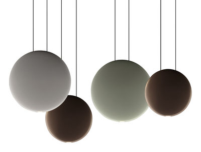 Luminaire - Suspensions - Suspension Cosmos LED / Set de 4 suspensions - L 76 cm - Vibia - Vert Ø27 / Gris Ø27 / 2 x Chocolat Ø19 - Polycarbonate