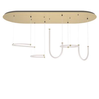 Luminaire - Suspensions - Suspension Unseen LED / 5 éléments - 180 x 73 cm - Petite Friture - Blanc & laiton - Laiton, Polycarbonate
