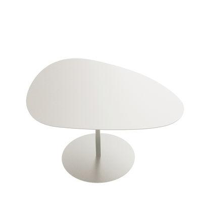 Table basse Galet n°2 / OUTDOOR - 58 x 75 - H 38,7 cm - Matière Grise blanc en métal