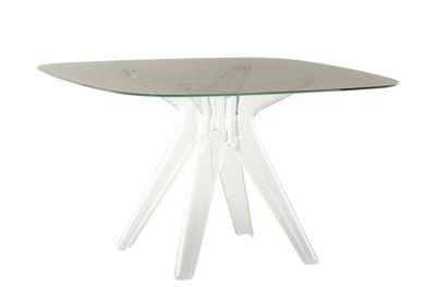 Mobilier - Tables - Table carrée Sir Gio / Verre - 120 x 120 cm - Kartell - Fumé / Pied transparent - Polycarbonate, Verre