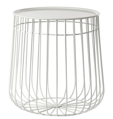 Mobilier - Tables basses - Table d'appoint Wire / Plateau amovible - Ø 40 x H 40 cm - Pols Potten - Blanc - Fer, Fil de fer
