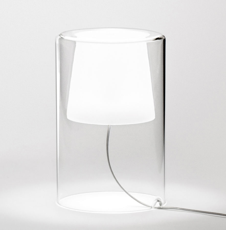 Lighting - Table Lamps - Join Table lamp by Vibia - H 21 cm / Transparent & white - Blown glass
