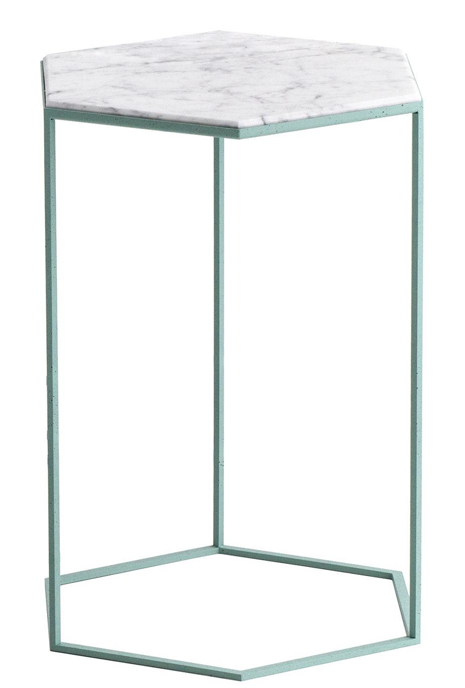 Arredamento - Tavolini  - Tavolino d'appoggio Hexxed - / Marmo - H 50 cm di Diesel with Moroso - Marmo bianco / Base verde - Acciaio verniciato, Marmo