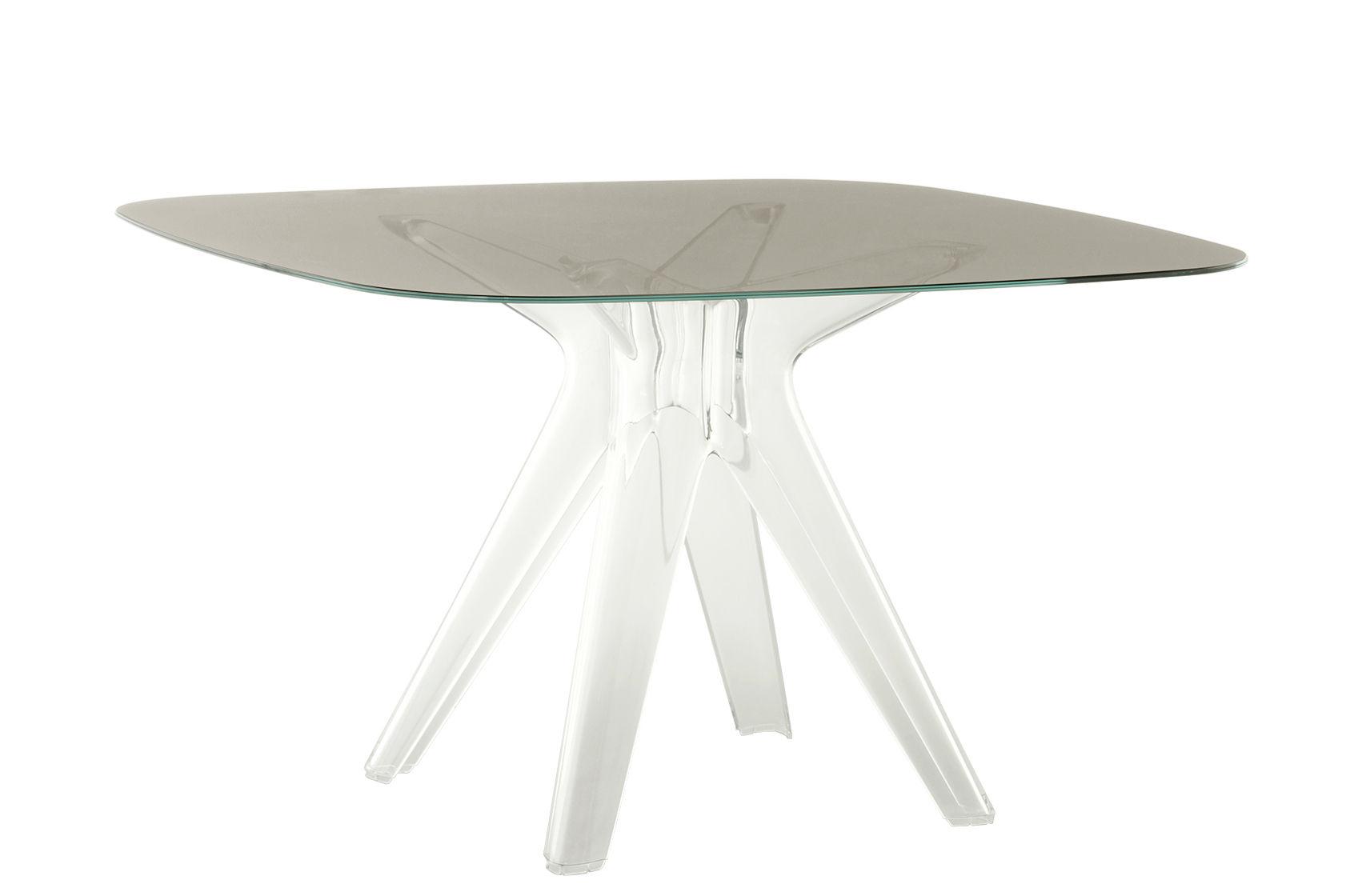 Arredamento - Tavoli - Tavolo quadrato Sir Gio - / Vetro - 120 x 120 cm di Kartell - Fumé / Piede trasparente - policarbonato, Vetro