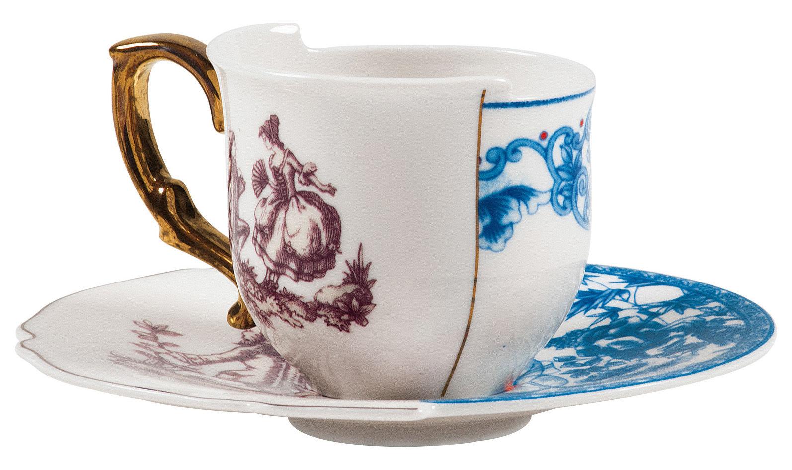 Tavola - Tazze e Boccali - Tazzina da caffè Hybrid Eufemia - Set tazze da caffè + sottopiattino di Seletti - Eufemia - Porcellana
