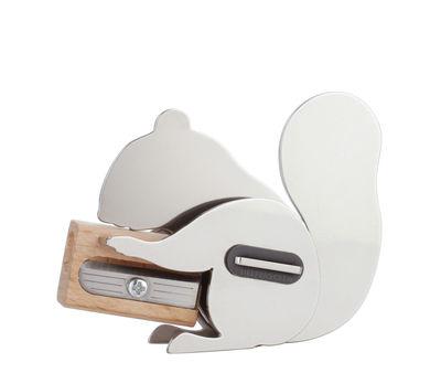 Accessori moda - Accessori ufficio - Temperino Ramzy - / Scoiattolo - Acciaio & faggio di Pa Design - Cromato - Faggio, Inox, Silicone