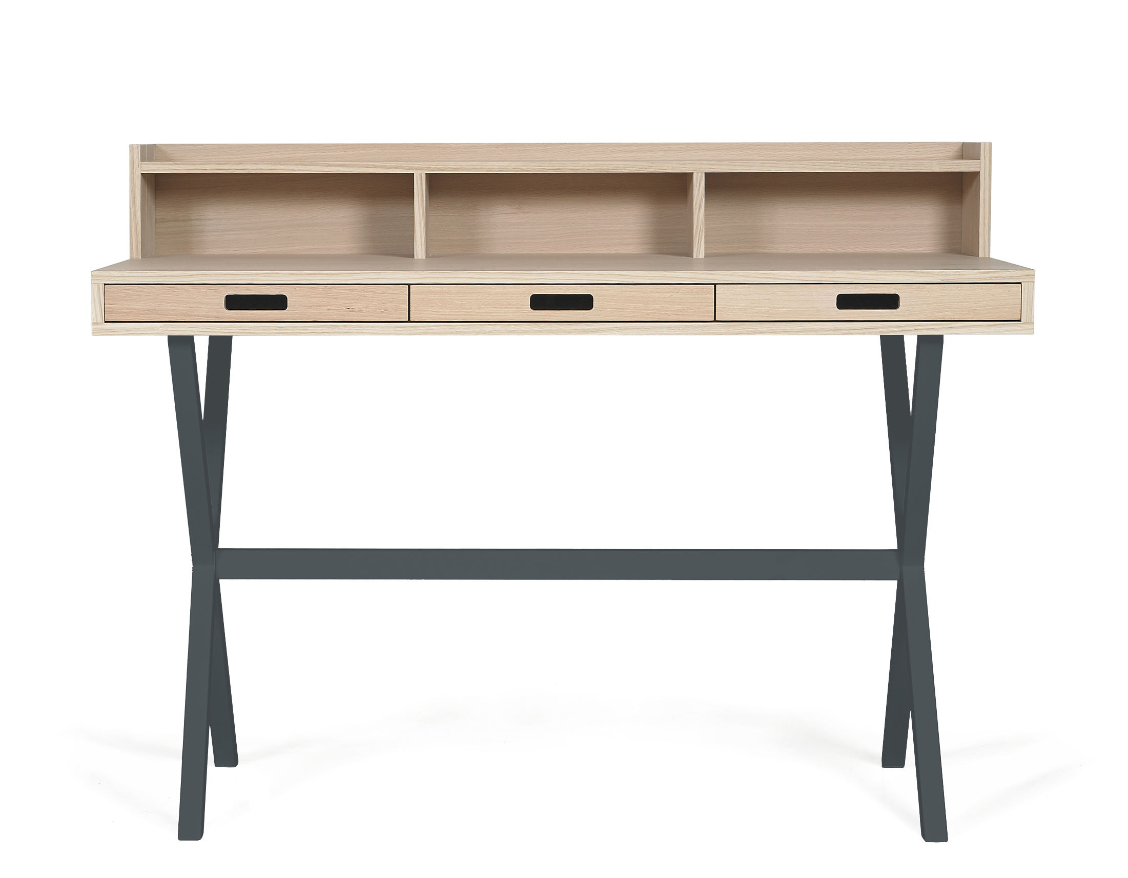 Furniture - Office Furniture - Hyppolite Writing desk by Hartô - Dark grey - Lacquered metal, MDF veneer oak