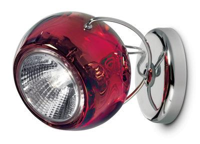 Luminaire - Appliques - Applique Beluga / Plafonnier - Version verre - Fabbian - Rouge transparent - Métal chromé, Verre