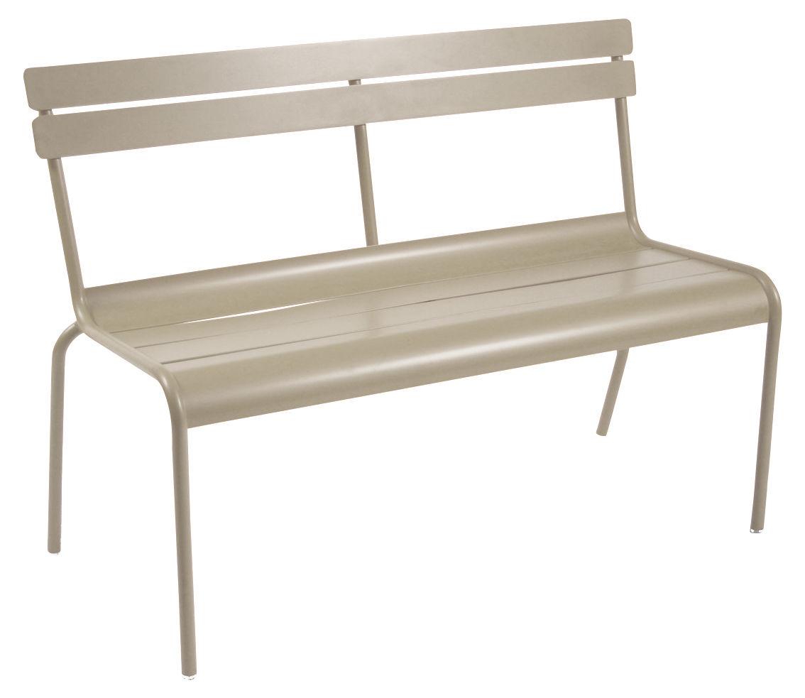 Life Style - Banc avec dossier Luxembourg / 2-3 places - L 118 cm - Aluminium - Fermob - Muscade - Aluminium laqué