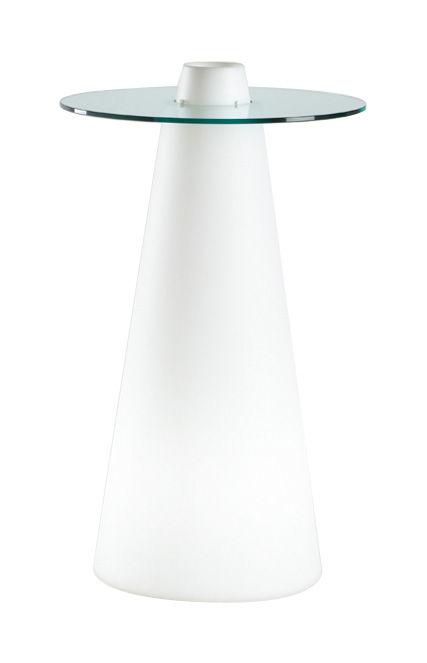 Möbel - Stehtische und Bars - Peak beleuchteter Stehtisch H 120 cm - Slide - Weiß / transparent - Glas, Polyéthylène recyclable rotomoulé
