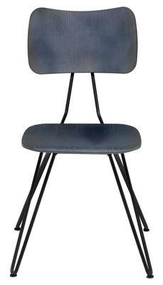 Mobilier - Chaises, fauteuils de salle à manger - Chaise Overdyed / Bois - Diesel with Moroso - Bleu indigo - Acier laqué, Multiplis de frêne teinté