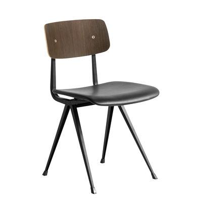 Mobilier - Chaises, fauteuils de salle à manger - Chaise Result / Cuir - Réédition 1958 - Hay - Cuir noir & chêne fumé - Acier laqué, Contreplaqué de chêne fumé, Cuir