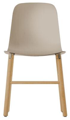 Mobilier - Chaises, fauteuils de salle à manger - Chaise Sharky / Plastique & pieds bois - Kristalia - Beige / Bois naturel - Hêtre massif, Polyuréthane