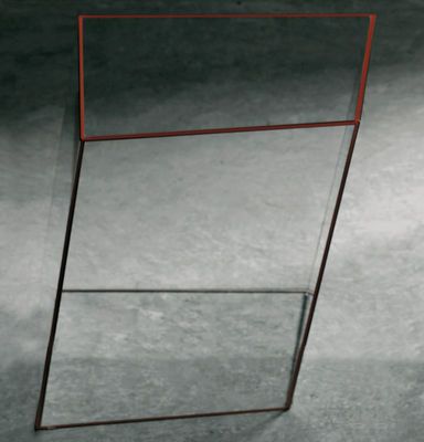 Furniture - Coffee Tables - Wireframe Coffee table - 40 x 38 cm by Glas Italia - Transparent - orange edges - Tempered glass