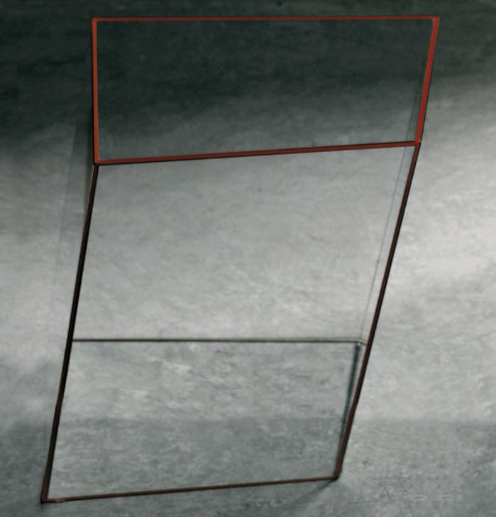Möbel - Couchtische - Wireframe Couchtisch 40 x 38 cm - Glas Italia - Transparent - orangefarbene Kanten - Cristal trempé