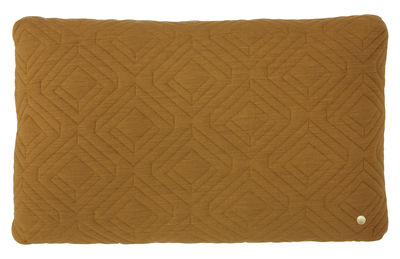 Déco - Coussins - Coussin Quilt / 60 x 40 cm - Ferm Living - Jaune curry -  Plumes, Laine, Polyamide, Polyester