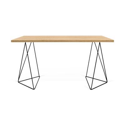 Furniture - Office Furniture - Oscar Desk - / W 140 x D 75 cm - Oak by POP UP HOME - Oak / Black base - chipboard panels, Lacquered metal, MDF, Oak veneer