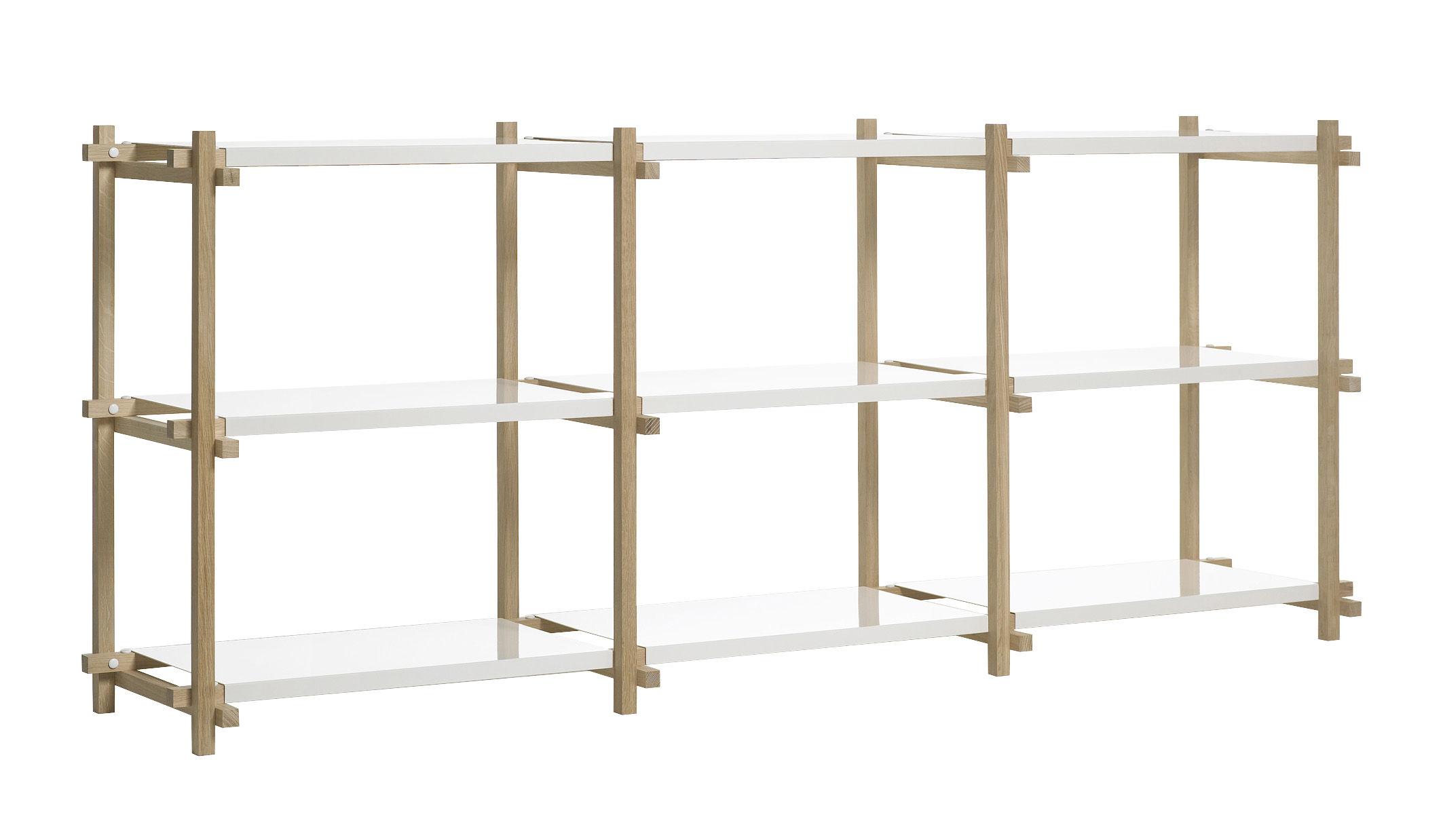 Mobilier - Etagères & bibliothèques - Etagère Woody low L 206 x H 85 cm - Hay - Chêne naturel / Etagères blanches - Acier laqué, Chêne massif