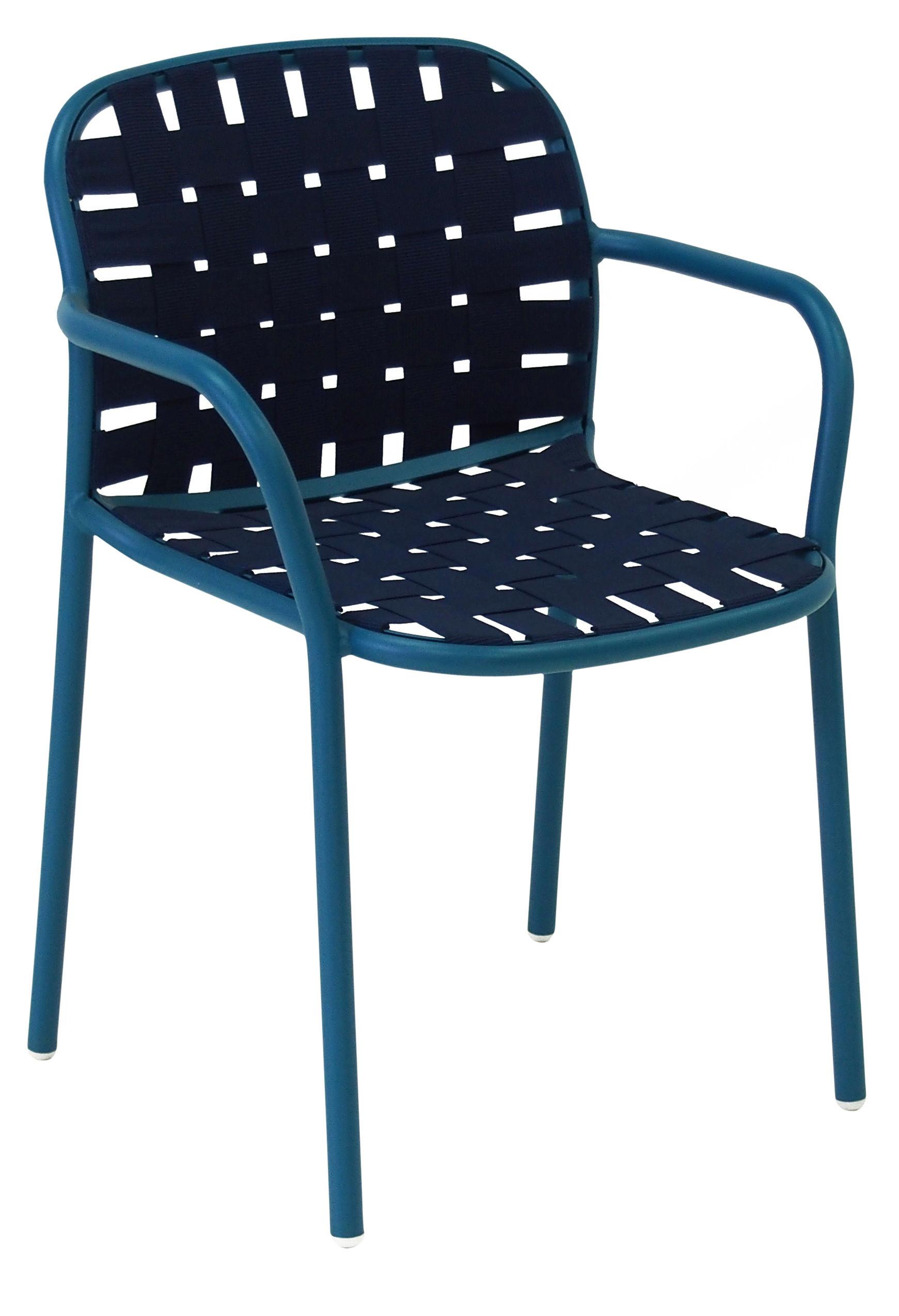 Mobilier - Chaises, fauteuils de salle à manger - Fauteuil empilable Yard / Sangles élastiques - Emu - Bleu - Aluminium verni, Sangles élastiques