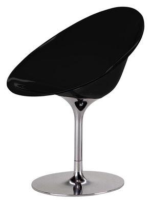Mobilier - Chaises, fauteuils de salle à manger - Fauteuil pivotant Ero/S/ en polycarbonate - Kartell - Noir opaque - Acier chromé, Polycarbonate