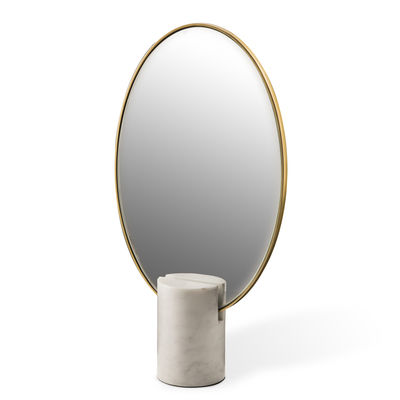 Decoration - Mirrors - Oval Free standing mirrors - / Marble by Pols Potten - White - Brass plated iron, Glass, Marble