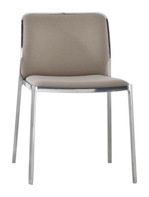 Möbel - Stühle  - Audrey Soft Gepolsterter Stuhl / Sitzfläche aus Stoff - Gestell Aluminium poliert - Kartell - Gestell: Aluminium poliert / Sitzfläche: Kvadrat-Stoff beige - Gewebe, poliertes Aluminium