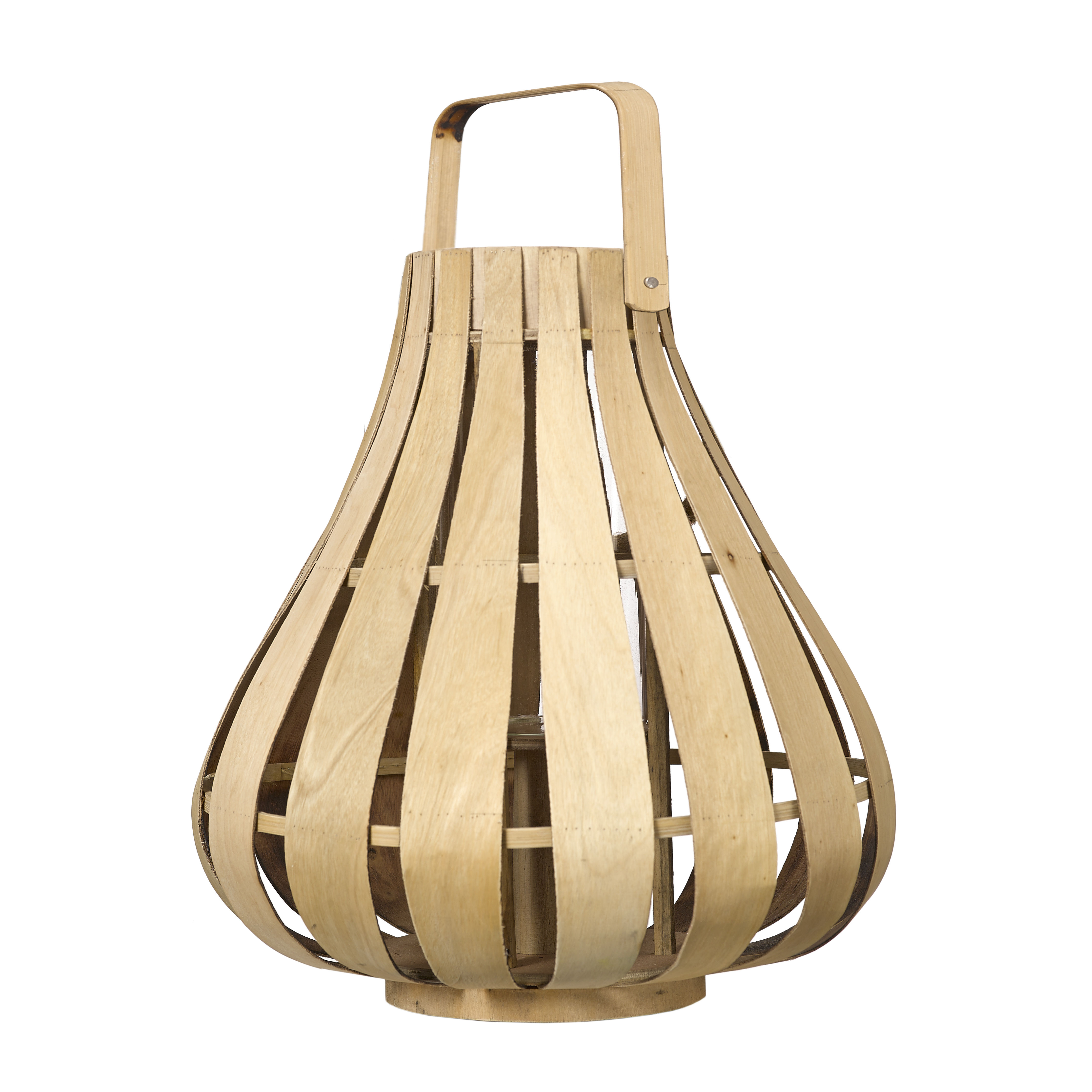 Decoration - Candles & Candle Holders - Vertical Strip Small Lantern - / Bamboo - Ø 39 x H 42 cm by Pols Potten - Natural bamboo - Bamboo, Glass