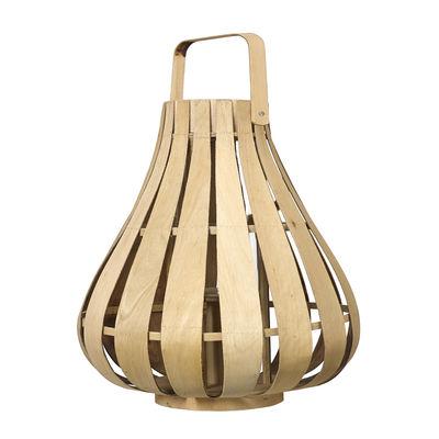 Interni - Candele, Portacandele, Lampade - Lanterna Vertical Strip Small - / Bambù - Ø 39 x H 42 cm di Pols Potten - Bambù naturale - Bambù, Vetro