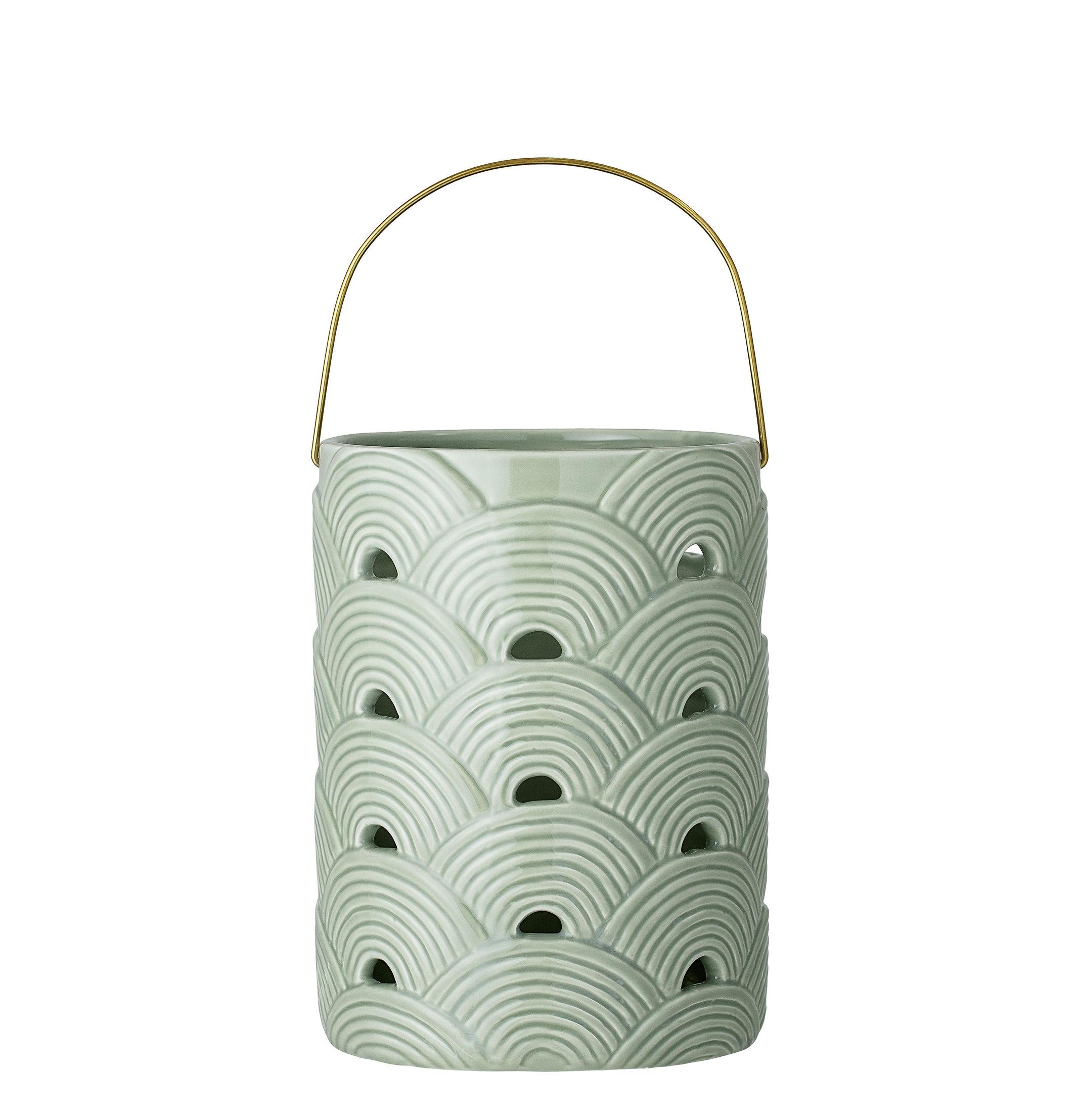 Déco - Bougeoirs, photophores - Lanterne / Céramique - Ø 15 x H 20 cm - Bloomingville - Vert & or - Céramique, Métal