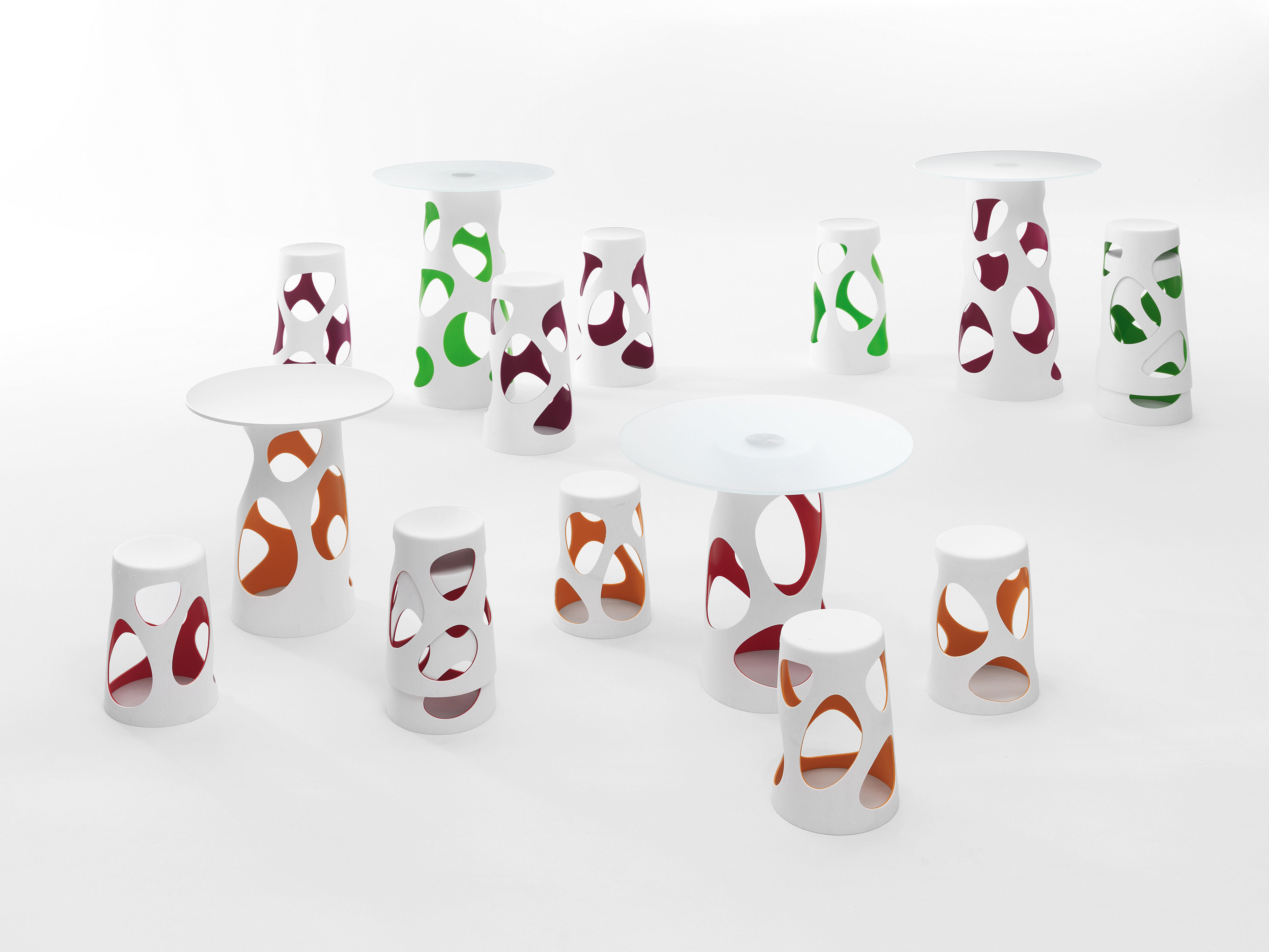 Luminous Table Leg Liberty By Myyour White Red H 74 X ø 42