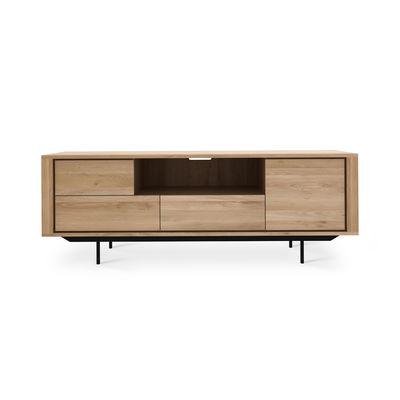 Mobilier - Commodes, buffets & armoires - Meuble TV Shadow / Chêne massif - L 180 cm - Ethnicraft - Chêne & noir - Chêne massif, Métal verni