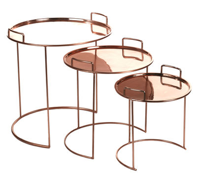 Furniture - Coffee Tables - Tray Round Nested tables - 3 pieces - Stackable by Pols Potten - Copper - Copper, Metal
