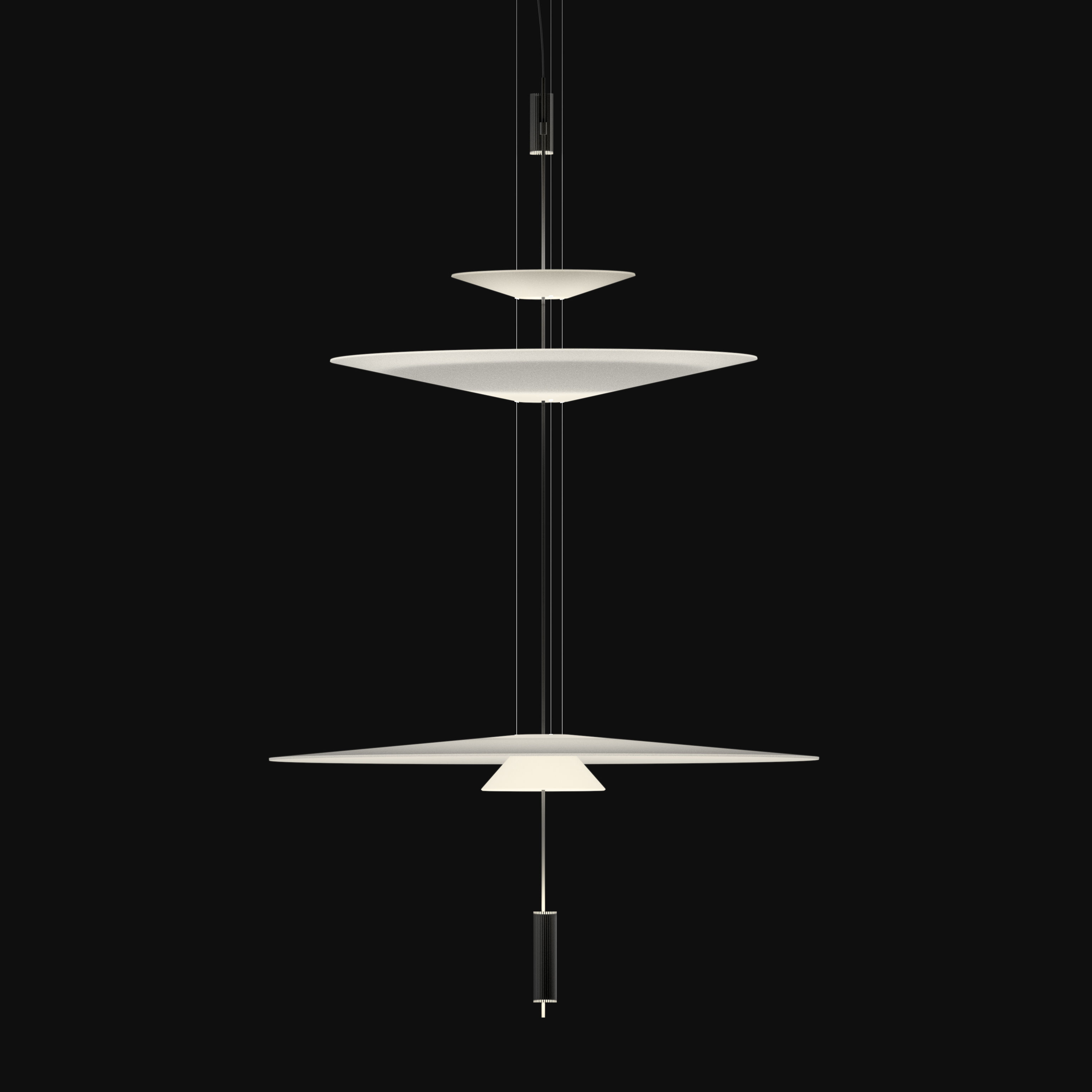 Lighting - Pendant Lighting - Flamingo Pendant - LED / Ø 90 cm by Vibia - Graphite diffuser / White shades - Acrylic, Metal, Methacrylate