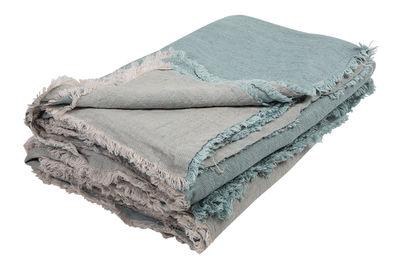 Dekoration - Wohntextilien - Vice Versa Plaid / 140 x 250 cm - Leinen - Maison de Vacances - Hellblau - Zerknittertes und gewaschenes Leinen