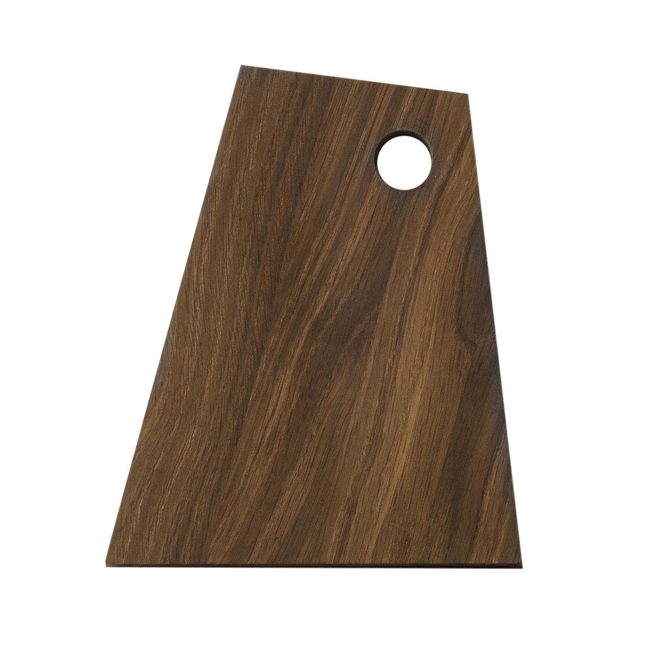Cuisine - Ustensiles de cuisines - Planche à découper Asymmetric Small / 18 x 22 cm - Ferm Living - Chêne fumé - Chêne massif fumé huilé