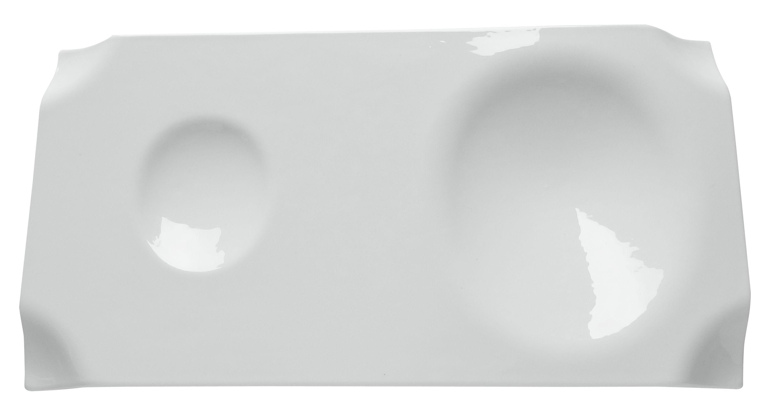 Arts de la table - Plateaux - Plateau Jo / Support 1 coupelle et 1 bol - 29 x 15 cm - cookplay - Blanc brillant - Porcelaine émaillée