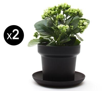 Pot de fleurs Green / Lot de 2 - Authentics noir en matière plastique