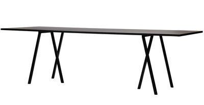 Product selections - Top 100 Furniture/bestseller - Loop Rectangular table - L 180 cm by Hay - L 180 cm - Black - Lacquered steel