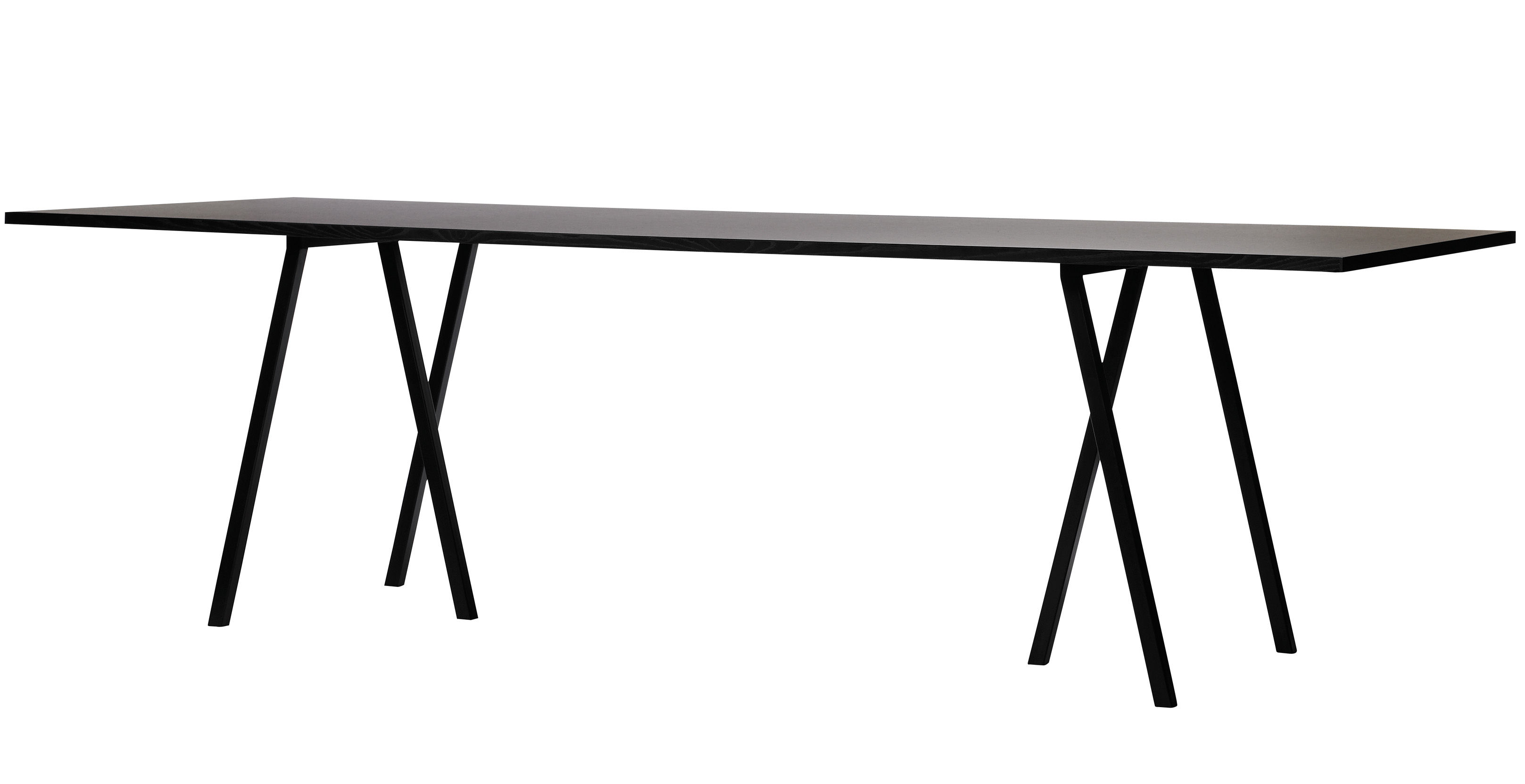 Back to school - Must-have - Loop Rectangular table - L 180 cm by Hay - L 180 cm - Black - Lacquered steel