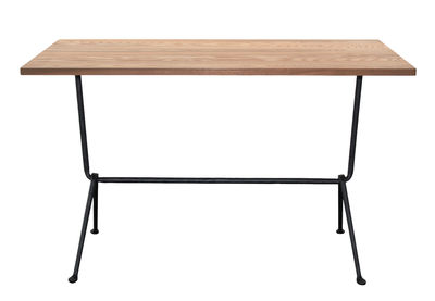 Outdoor - Garden Tables - Officina Bistrot Outdoor Rectangular table - 120 x 60 cm - Wood by Magis - Dark Ash  / Black legs - Heat treated ash, Varnished wrought iron
