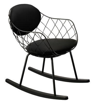 Mobilier - Fauteuils - Rocking chair Pina / Tissu Kvadrat - métal & pieds bois - Magis - Tissu noir / Structure noire - Acier verni, Hêtre teinté, Tissu Kvadrat