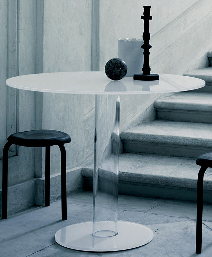 Furniture - Dining Tables - Hub Round table by Glas Italia - White - Glass