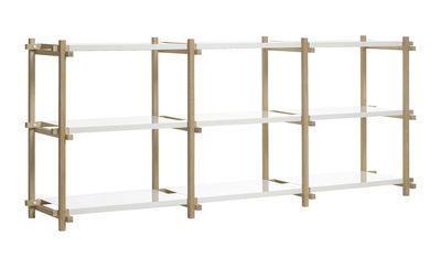 Arredamento - Scaffali e librerie - Scaffale Woody low - L 206 x A 85 cm di Hay - Rovere naturale / Scaffali Bianchi - Acciaio laccato, Rovere massello