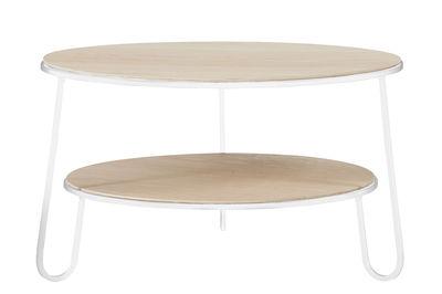 Table basse Eugénie Small / Ø 70 - Chêne - Hartô blanc en métal/bois