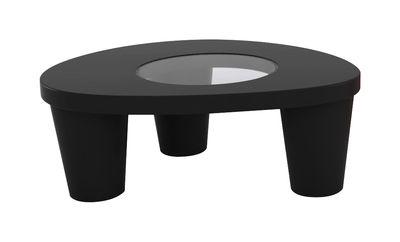 Table basse Low Lita / 90 x 74 cm - Slide noir en verre/matière plastique