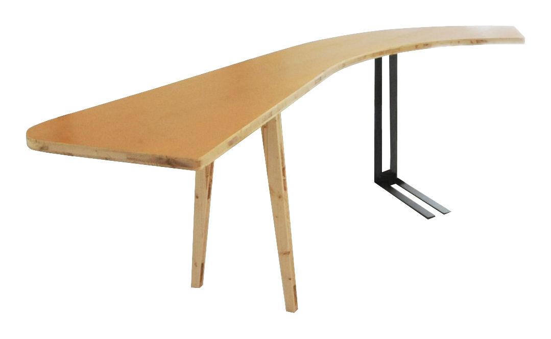 Mobilier - Mobilier Ados - Table rectangulaire Le Hasard / Bureau incurvé gauche - L188 cm - Smarin - Courbure gauche - Jaune / Bois clair - Epicéa