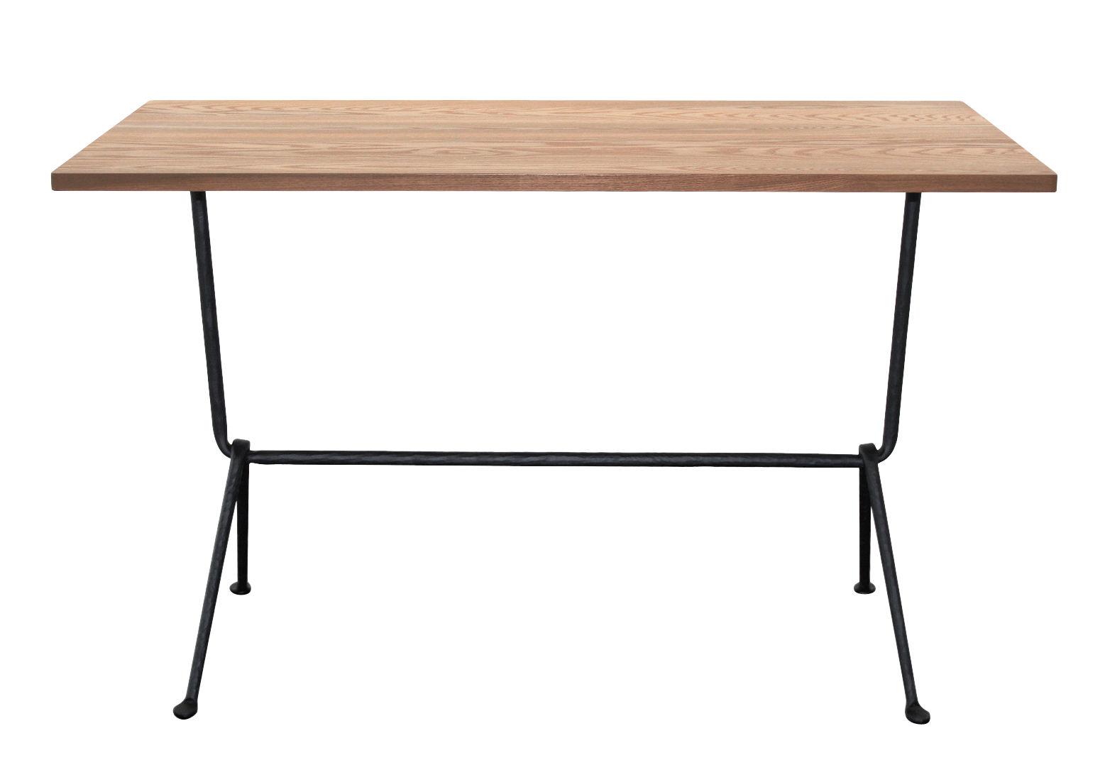 Outdoor - Tables de jardin - Table rectangulaire Officina Bistrot Outdoor / 120 x 60 cm -  Plateau frêne - Magis - Frêne foncé / Pieds noirs - Fer forgé verni, Frêne thermo-traité