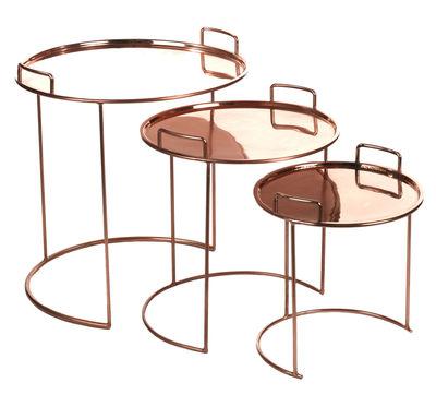 Arredamento - Tavolini  - Tavolino basso Tray Round / Set da 3 tavoli estraibili - Pols Potten - Rame - Metallo, Rame